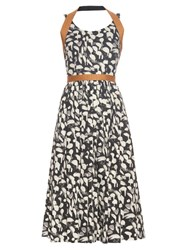Sophie Theallet Yolanda Abstract Print Raffia Trimmed Dress