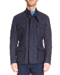 Berluti Quilted Suede Field Jacket Navy