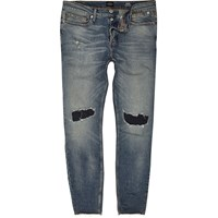 River Island Mens Faded Blue Wash Ripped Sid Skinny Jeans