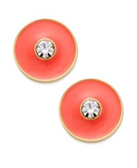 Kate Spade New York Set In Stone Gold Tone Crystal Center Round Stud Earrings Coral