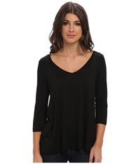 Three Dots 3 4 Sleeve Wide V Neck Tee Black Women's Long Sleeve Pullover