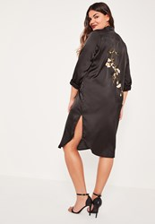 Missguided Plus Size Black Embroidered Back Shirt Dress