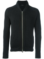 Roberto Collina Zipped Ribbed Cardigan Black