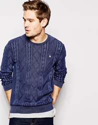 Jack Wills Jumper With Cable Knit Navy