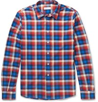 Etro Checked Cotton Flannel Shirt Blue