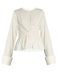 Marques Almeida Asymmetric Ruched Panel Long Sleeved Cotton Shirt White