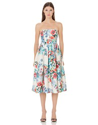 Cynthia Rowley Strapless Floral Print Dress Beige