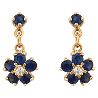 Sharon Mills Vintage 9Ct Gold Sapphire Diamond Cluster Drop Earrings Gold