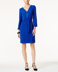 Inc International Concepts Zip Front Belted Dress Only At Macy's Goddess Blue