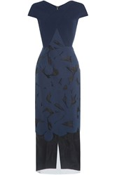Roland Mouret Gibson Dress With Sheer Inserts Blue