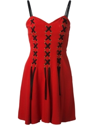 Moschino Vintage Corset Cocktail Dress Red
