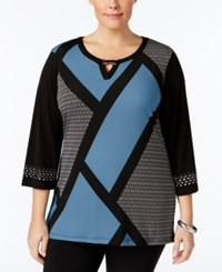 Jm Collection Plus Size Keyhole Colorblocked Tunic Only At Macy's Modest Block Blue
