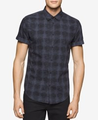 Calvin Klein Jeans Men's Watermark Plaid Short Sleeve Shirt Greystone