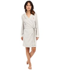 Lauren Ralph Lauren French Terry Hooded Robe Grey Heather Women's Robe Gray