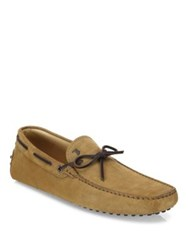 Tod's Gommini Tie Front Corduroy Suede Drivers Brown