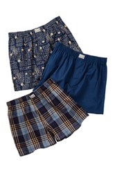 Lucky Brand Assorted Woven Boxers 3 Pack Gift Box Blue