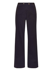 Tomas Maier Wide Leg Weathered Stretch Cotton Trousers