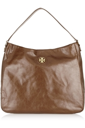 Tory Burch City Hobo Textured Leather Shoulder Bag Chocolate