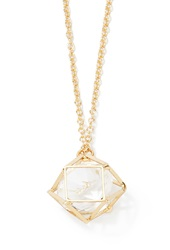 Forever 21 Geo Cage Pendant Necklace Gold Clear