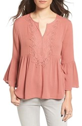 Chloe And Katie Women's Embroidered Peplum Peasant Top