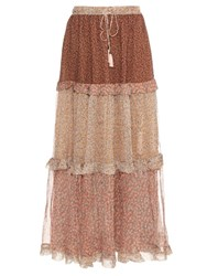 Zimmermann Eden Tiered Ruffle Silk Skirt Multi