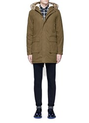 Topman Fleece Lined Parka Green