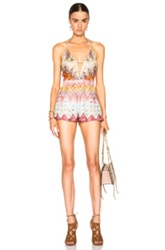 Missoni Mare Cut Out Romper In Abstract Pink Blue Neutrals