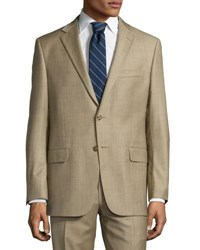 Hickey Freeman Classic Wool Two Piece Suit Beige