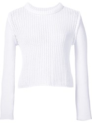 3.1 Phillip Lim Open Stitch Cropped Sweater White