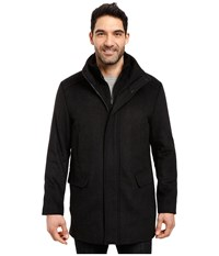 Calvin Klein Wool Stadium Jacket In Small Herringbone Charcoal Men's Coat Gray
