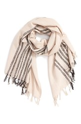 Women's Sole Society Stripe Fringe Scarf Beige Light Taupe