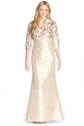 Adrianna Papell Shantung Gown And Bolero Jacket Beige