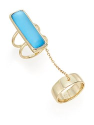 Alexis Bittar Lucite Double Band Chain Ring Azure