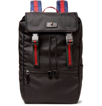 Gucci Webbing Trimmed Nylon Canvas Backpack Black