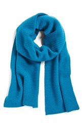 Halogenr Women's Halogen Ribbed Cashmere Muffler Teal Abyss