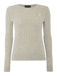 Polo Ralph Lauren Julianna Cable Wool Crew Neck Jumper Light Grey