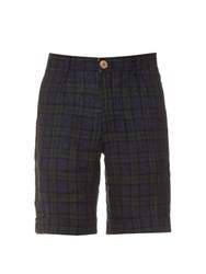 Oliver Spencer Plaid Check Linen Shorts Indigo
