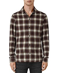 Allsaints Orofino Slim Fit Button Down Shirt Red Check