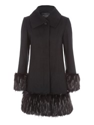 Jane Norman Black Fur Cuff And Hem Coat