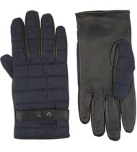 Ted Baker Fabric And Leather Gloves Navy