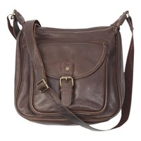 Fat Face Amelia Large Oiled Leather Shaped Cross Body Bag Chocolate