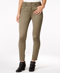 Tinseltown Juniors' 2 Button High Waist Colored Skinny Jeans Tapenade