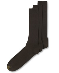 Gold Toe Cotton Fluffies Casual 3 Pack Extended Size Men's Socks Brown