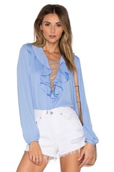 L'academie The Ruffle Boho Blouse Blue