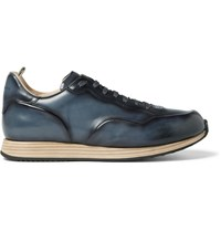 Officine Creative Keino Polished Leather Sneakers Blue