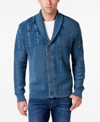 Weatherproof Vintage Men's Big And Tall Cardigan Only At Macy's Faded Denim