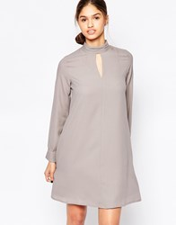 B.Young Long Sleeve Swing Dress With Key Hole Front Frost Gray