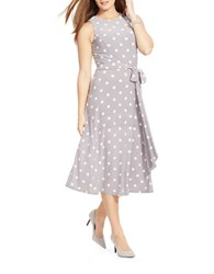 Lauren Ralph Lauren Plus Polka Dot Jersey Dress Slate Colonial Cream