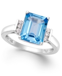 Macy's Blue Topaz 4 Ct. T.W. And Diamond Accent Ring In 14K White Gold