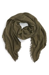 Women's Bp. Woven Cotton Square Scarf Olive